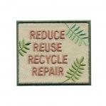 Triigitav Aplikatsioon Taaskasutuseteemaline `Reduce, Reuse, Recycle, Repair` 7x6cm