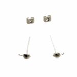 Metal Earring Billet and Back; 2pc / 13 x 4mm