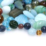 Pärlisegu sinakas-rohekates toonides, erikujulistest pärlitest 4-16mm, 100/50g pakk