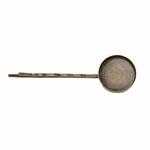 Metallist juukseklambri toorik ümara plaadiga / Bobby Pin with Round Plate / 64 x 19mm