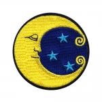 Kuu ja tähed tikitud triigitav piltaplikatsioon 7cm