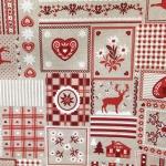 Jõulumustriga, südametega, puuvillasegu kangas, 7299-218 140cm