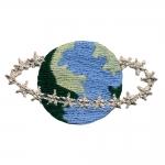 Planeet maa, hõbedaste tähekestega tikitud triigitav piltaplikatsioon 5,5x3,5cm