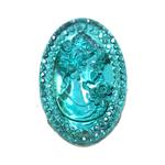 Ovaalne plastkristall, reljeefse tütarlapse kujutisega, augud nööbilaadselt 30x20mm