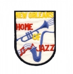 Triigitav Aplikatsioon; Jazzi logo `New Orleans Home Jazz` / Embroidered Iron-On Patch; Cross/ 8,5x6,5cm