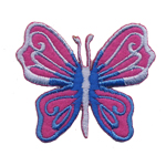 Embroidered Iron-On Patch; Blue & Pink Butterfly / 7 x 6cm