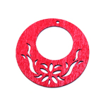 Wooden Circle Pendant with Floral Pattern / 50 x 2mm