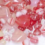 Pärlisegu punakatest südamekujulistest pärlitest 6-17mm, 100/50g pakk