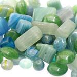 Pärlisegu Sinakas-rohekates toonides eri suurusega  pärlitest 5-20mm, 100/50g pakk