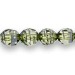Ümmargused tahulised klaasjad akrüülhelmed valgete maalitud triipudega 10mm