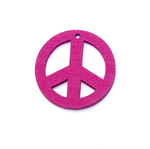 Wooden Peace Symbol Pendant / 25 x 2mm