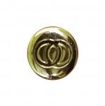 Metallilaadne, kuldne, reljeefse mustriga, kannaga nööp 21mm, 32L