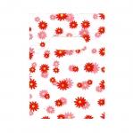 Valge, punase/roosamustriline plastikkott/ Red Pattern White Plastic Bag / 14 x 10cm