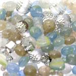 Pärlisegu Sinakas-hallikas-lillakates toonides eri suurusega pärlitest 5-12mm, 100/50g pakk