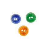 Naturaalsed teokarbist nööbid, sädeleva värvilise glasuuriga, kahe auguga 18mm, 30L