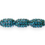 Metallist klaaskristallidega pärl/vahedetail 14x8mm