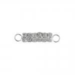 Piklik, klaaskristallidega, külgedelt aasadega, metallist ripats, 23x5x4mm