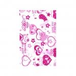 Valge, punase/roosamustriline plastikkott/ Red Pattern White Plastic Bag / 20 x 13cm