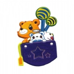 Soft 3D Sticker; Teddy Bears with Balloons / 8 x 5,5cm