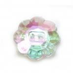 Lillekujuline kristallilaadne akrüülnööp 21mm, 34L