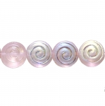 Round flat glass beads with spiral pattern, 14x7mm