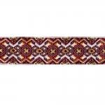 Valgel taustal värviline, kootud , kirju, kuld- ja hõbeniitidega ornamendimustriga kaunistuspael 24mm; 25941