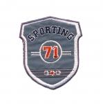 Helkur-aplikatsioon, triigitav; Sporditeemaline `Sporting 71` / Iron-on Reflective Patch / 8x7cm