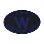 Triigitav Aplikatsioon `W World Sports` spordi vapp / Embroidered Iron-On Patch / 8x5cm