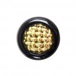 Must kuldse metallilaadse punutisega nööp ø23 mm, suurus: 36L