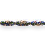 Värvilised, maalitud ovaalsed torujad cloisonne metallhelmed 21x7,5mm