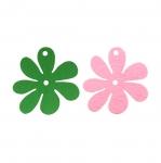 Lillekujulised , erivärvilised filigraansed puitdetailid, auguga ülalt ja keskelt / Wooden Flower Pendants / 25 x 2mm