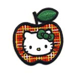 Embroidered Iron-On Patch; Hello Kitty with Apple / 6,5 x 5,5cm