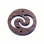 Erivärvilised filigraansed puitdetailid / Wooden Circle Pendant with Crescent Moons / 35 x 2mm