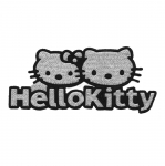 Embroidered Iron-On Patch; Hello Kitty, Silver / 10,5 x 4,5cm