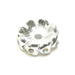 Vahehelmes klaaskristallidega, südamed / Heart Jewellery Spacer with Rhinestones / 15 x 5mm