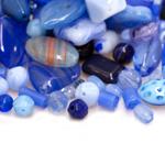 Pärlisegu Sinistes toonides eri suurusega  pärlitest 5-18mm, 100/50g pakk
