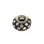 Metallist, klaaskristallidega, pandora stiilis helmes 14x9mm
