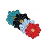 Embroidered Iron-On Patch; Flower with Metal Thread / 6,5cm