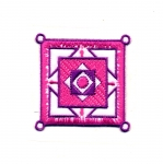 Embroidered Iron-On Patch; Square Ornament / 5,5cm