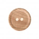 Naturaalne, lakitud puitnööp, kahe auguga, läbimõõduga 25mm/38L