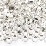Czech Rocaille silverline beads, Seed Beads, square hole, No.4 (4.8-5.3 mm), Preciosa