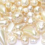 Pärlisegu kreemjatest pärlmutter erikujulistest pärlitest 6-22mm, 100/50g pakk