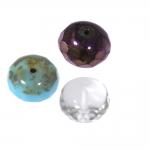 Ümarad lapikud tahulised klaashelmed 14x9mm