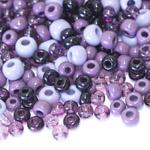 Pärlisegu lillakates toonides ümaratest pärlitest 5-9mm, 100/50g pakk