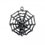 Metallist, ümar, ämblikuvõrgu, pealuu ja ämblikuga riputis, aasataolise auguga, suuruses 30x30x4mm