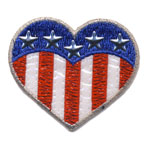 Embroidered Iron-On Patch; US Flag Heart / 6 x 5,5cm