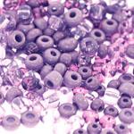 Pärlisegu Tumelillakates toonides pärlitest 4-8,5mm, 100/50g pakk