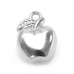 Silver Plastic Apple Charm / 24 x 19 x 12mm