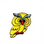 Triigitav Aplikatsioon; Väike Kirju Öökull / Embroidered Iron-On Patch; Bright Owl / 4,5x3cm