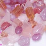 Pärlisegu roosakatest erikujulistest pärlitest 6-15mm, 100/50g pakk